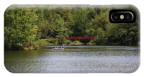 Centennial Bridge iPhone Case - Centennial Lake Spring - Red Bridge Fishing by Ronald Reid