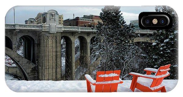 Centennial Bridge iPhone Case - Centennial Trail Chairs - Spokane by Daniel Hagerman