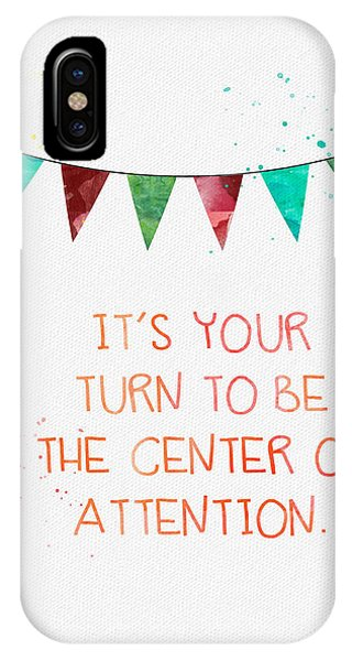 Typography iPhone Case - Center Of Attention- Card by Linda Woods