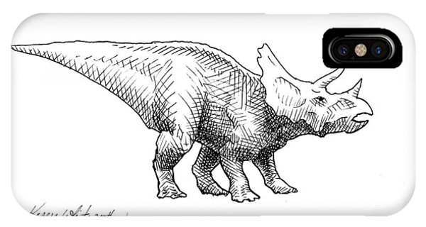Cera The Triceratops - Dinosaur Ink Drawing IPhone Case