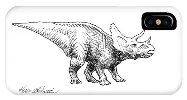 Dinosaur iPhone Case - Cera The Triceratops - Dinosaur Ink Drawing by Karen Whitworth