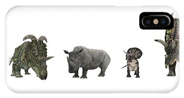 Diceratops iPhone Case - Cerapod Dinosaurs Compared To A Rhino by Walter Myers