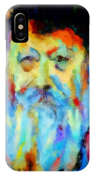 Chabad Lubavitch Rebbe Colorful Bright Acrylic Painting Menachem Schneerson Rabbi Crown Heights Rainbow IPhone Case