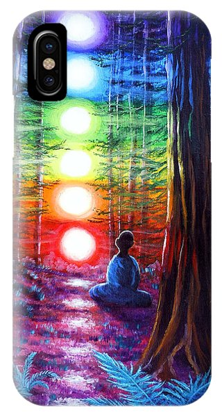 Rainbow iPhone Case - Chakra Meditation In The Redwoods by Laura Iverson