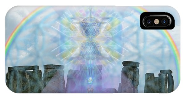 Chalice Over Stonehenge In Flower Of Life And Man IPhone Case