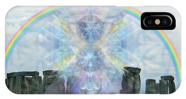 Chalice Over Stonehenge In Flower Of Life IPhone Case