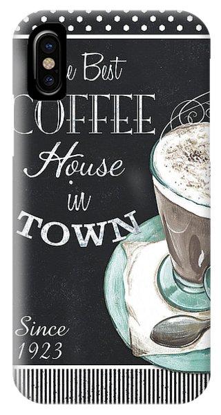 Cafe iPhone Case - Chalkboard Retro Coffee Shop 2 by Debbie DeWitt