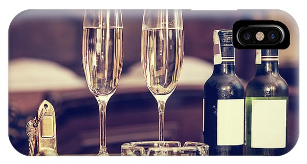 Champagne, Glasses, Antique Keys. Luxury Hotel Apartment, Room Service IPhone Case