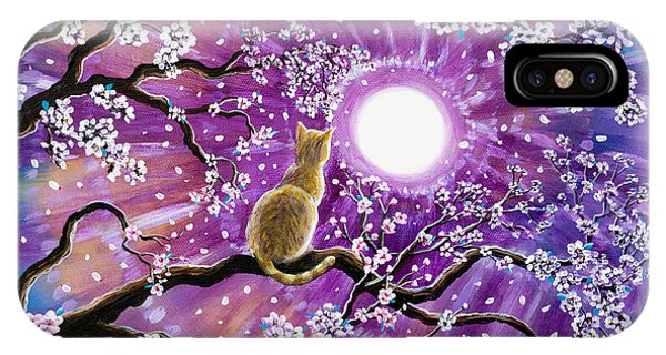 Tabby iPhone Case - Champagne Tabby Cat In Cherry Blossoms by Laura Iverson