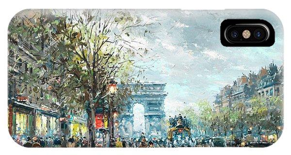 Trolley Car iPhone Case - Champs Elysees Avenue, Paris by Antoine Blanchard