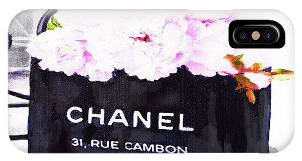 Designer iPhone Case - Chanel Bag With Peony  by Del Art