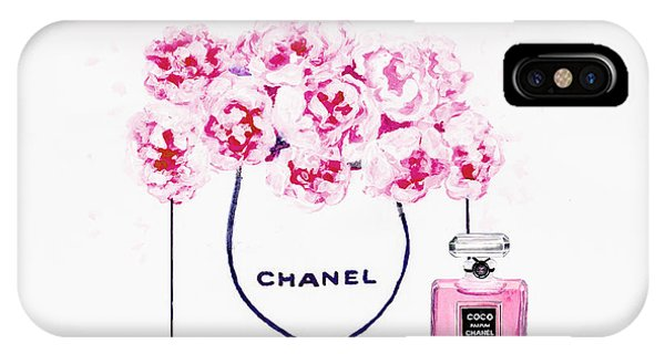 Designer iPhone Case - Chanel Bag With Pink Peonys by Del Art