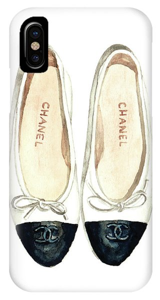 Perfume iPhone Case - Chanel Ballet Flats Classic Watercolor Fashion Illustration Coco Quotes Vintage Paris Black White by Laura Row
