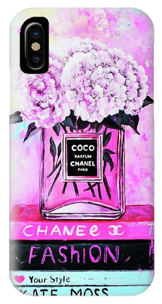 Designer iPhone Case - Chanel Perfume With Peony by Del Art