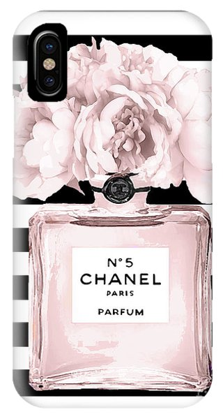 Perfume iPhone Case - Chanel N.5, Black And White Stripes by Del Art