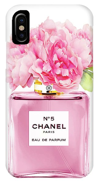 Perfume iPhone Case - Chanel N5 Pink With Flowers by Green Palace