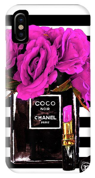 Watercolors iPhone X Case - Chanel Noir Perfume With Flowers by Del Art