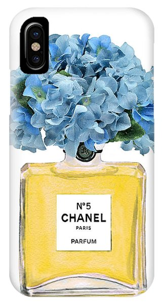 Perfume Bottles iPhone Case - Chanel Perfume Nr 5 With Blue Hydragenias  by Del Art