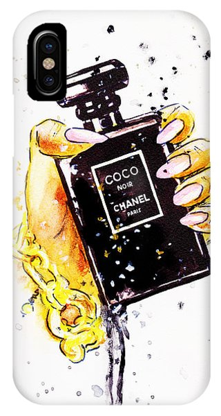 Designer iPhone Case - Chanel Perfume Poster, Noir Perfume In Hand by Del Art