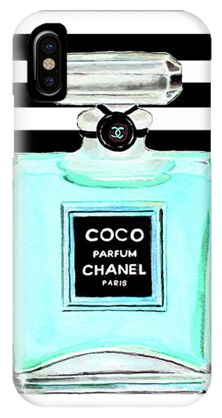 Perfume iPhone Case - Chanel Perfume Turquoise Chanel Poster Chanel Print by Del Art