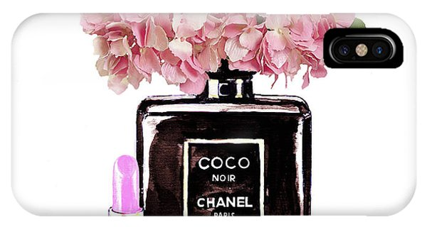 Designer iPhone Case - Chanel Perfume  With Pink Hydragenia 2 by Del Art