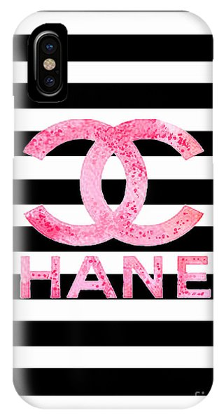 Logo iPhone Case - Chanel Pink Logo On Stripes by Del Art