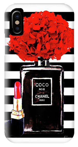 Designer iPhone Case - Chanel Poster Chanel Print Chanel Perfume Print Chanel With Red Hydragenia 3 by Del Art