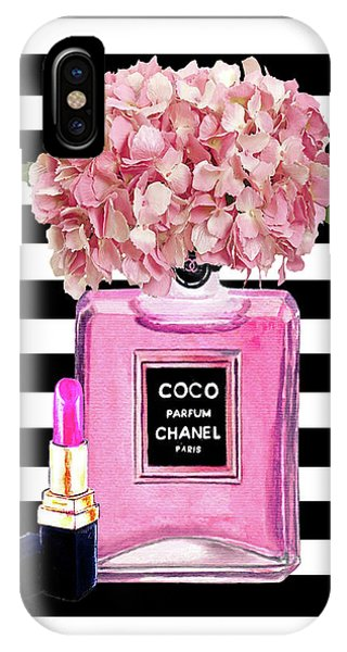 Perfume iPhone Case - Chanel Poster Pink Perfume Hydrangea Print by Del Art