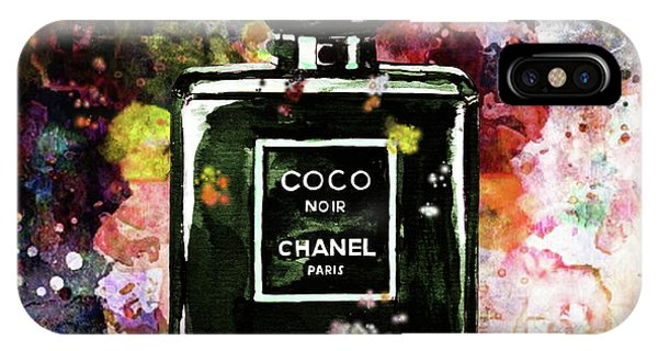 Designer iPhone Case - Chanel Poster Yellow Chanel Print Chanel Noir Perfume Print Chanel Noir Watercolor by Del Art