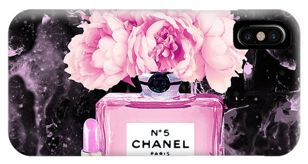 Perfume Bottles iPhone Case - Chanel Print Chanel Poster Chanel Peony Flower Black Watercolor by Del Art