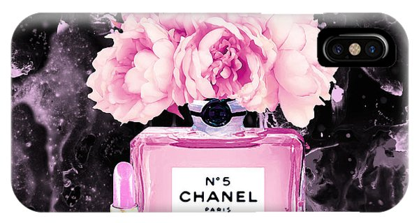 Designer iPhone Case - Chanel Print Chanel Poster Chanel Peony Flower Black Watercolor by Del Art