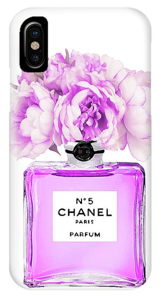 Perfume Bottles iPhone Case - Chanel Print Chanel Poster Chanel Peony Flower by Del Art