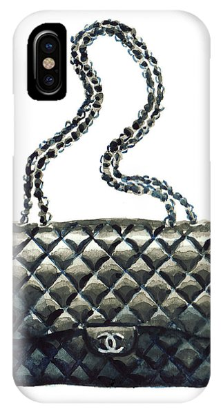 Designer iPhone Case - Chanel Quilted Handbag Classic Watercolor Fashion Illustration Coco Quotes by Laura Row