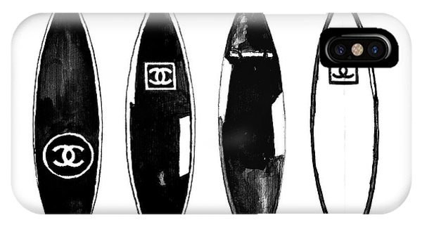 Surfboard iPhone Case - Chanel Surfboard  Black And White by Del Art