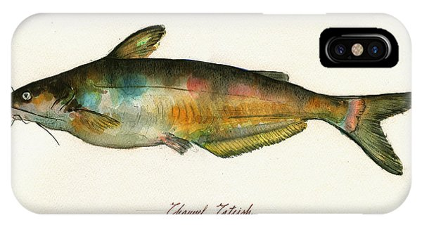 Catfish iPhone Case - Channel Catfish Fish Animal Watercolor Painting by Juan  Bosco