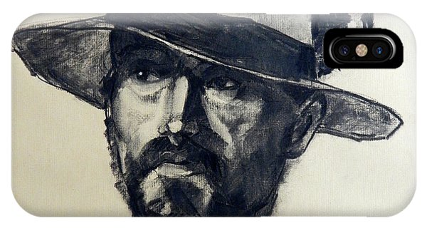 Charcoal Portrait Of A Man Wearing A Summer Hat IPhone Case
