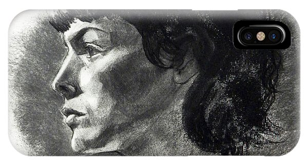 Charcoal Portrait Of A Pensive Young Woman In Profile IPhone Case