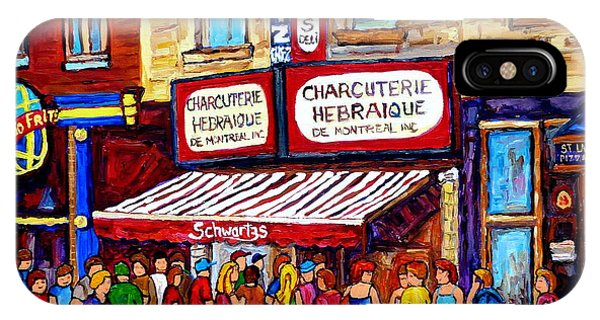 Charcuterie Hebraique Schwartz Line Up Waiting For Smoked Meat Montreal Paintings Carole Spandau     IPhone Case
