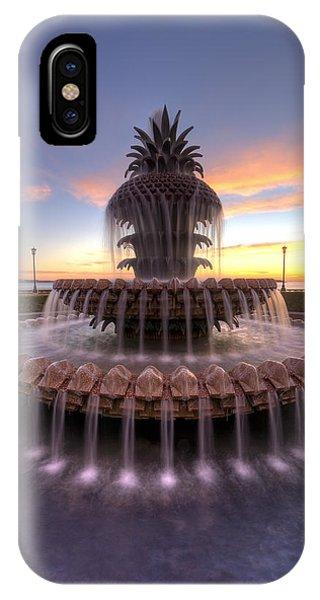 Pineapple iPhone Case - Charelston Pineapple Fountain Sunrise by Dustin K Ryan