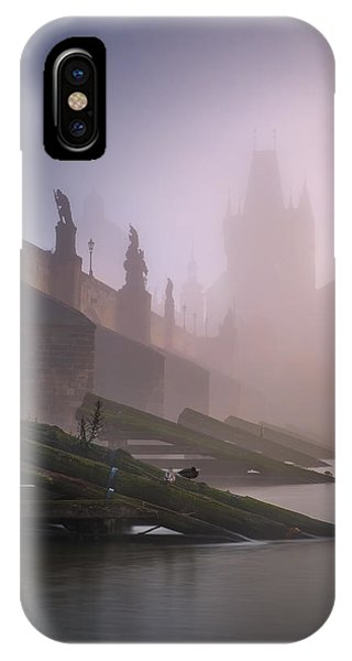 Charles Bridge At Autumn Foggy Day, Prague, Czech Republic IPhone Case