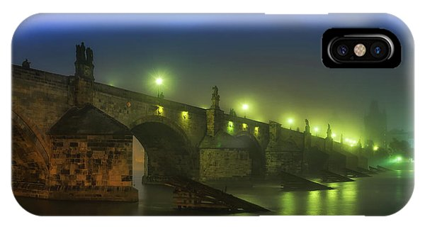 Charles Bridge Night In Prague, Czech Republic IPhone Case