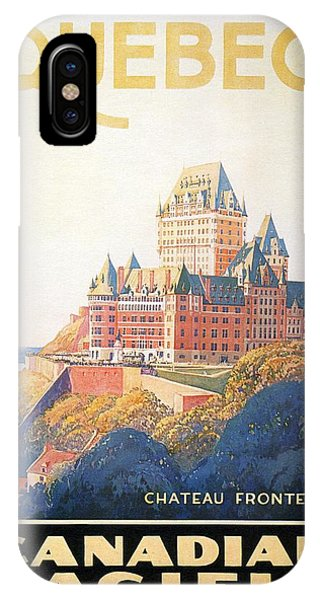 Chateau Frontenac Luxury Hotel In Quebec, Canada - Vintage Travel Advertising Poster IPhone Case