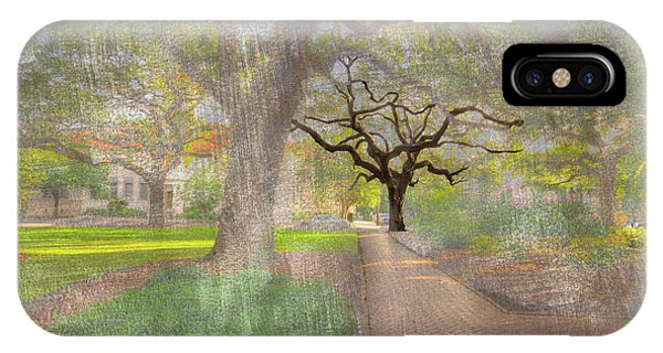 Park Bench iPhone Case - Chatham Square  by Larry Braun