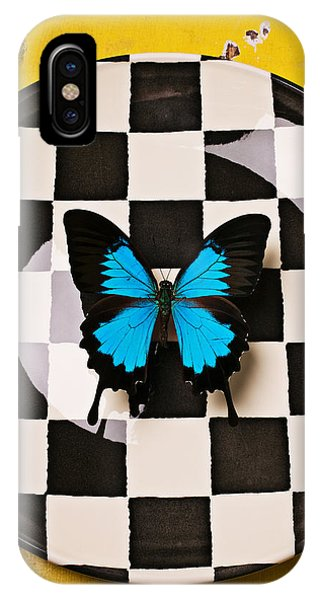Pollination iPhone Case - Checker Plate And Blue Butterfly by Garry Gay