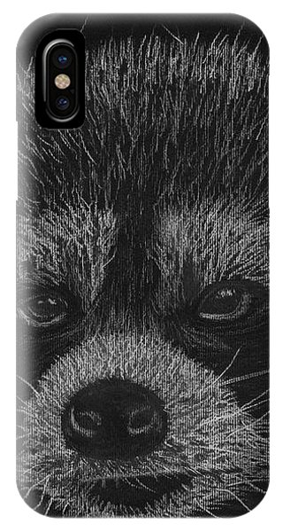 Cheeky Little Guy - Racoon Pastel Drawing IPhone Case