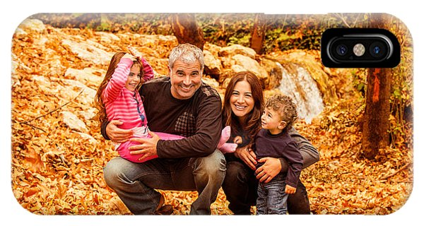 Cheerful Family In Autumn Woods IPhone Case