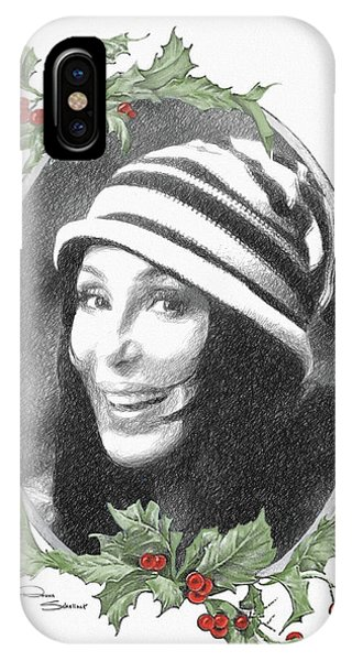 Sonny And Cher iPhone Case - Cher Ski Hat Xmas by Donna Schellack