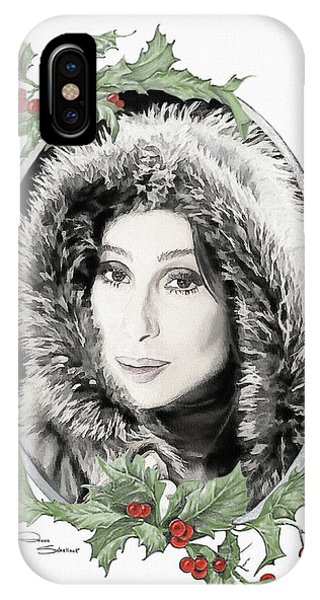 Sonny And Cher iPhone Case - Cher Xmas In Fur  by Donna Schellack