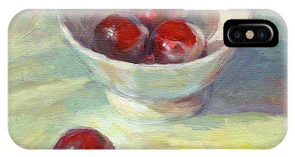 Cherries In A Cup On A Sunny Day Painting IPhone Case