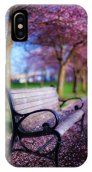 IPhone Case featuring the photograph Cherry Blossom Bench by Darren White